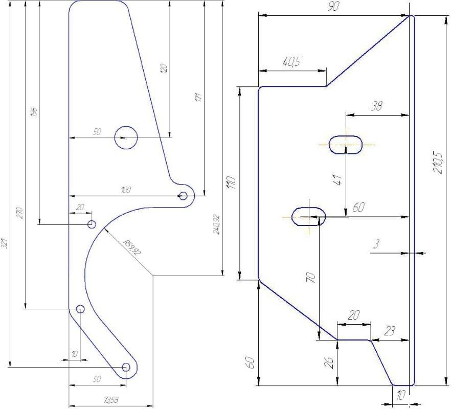 второй вариант чертеж кранштейна крепления генератора нива