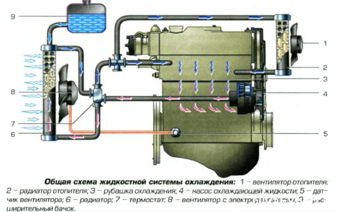 схема жидкости системы охлождения нива тосол рубашка датчик