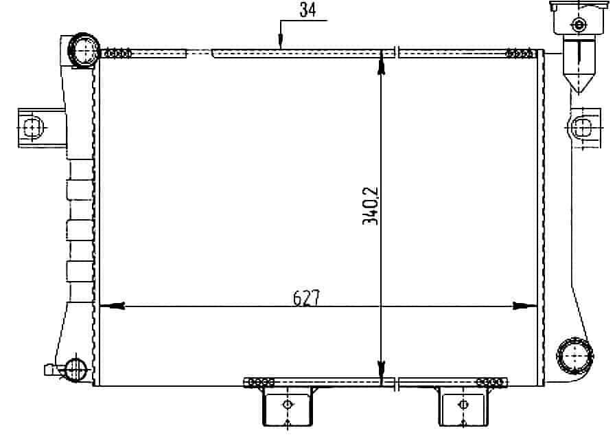 чертеж размеров радиатора нива размеры крепления