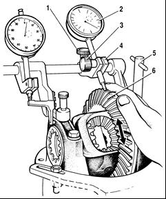 Приспособление для регулировки зазора между ведущей и ведомой шестернями и контроля затяжки гаек подшипника дифференциала главной передачи